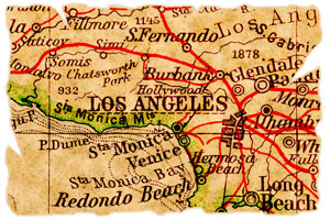 old map of Los Angeles, California